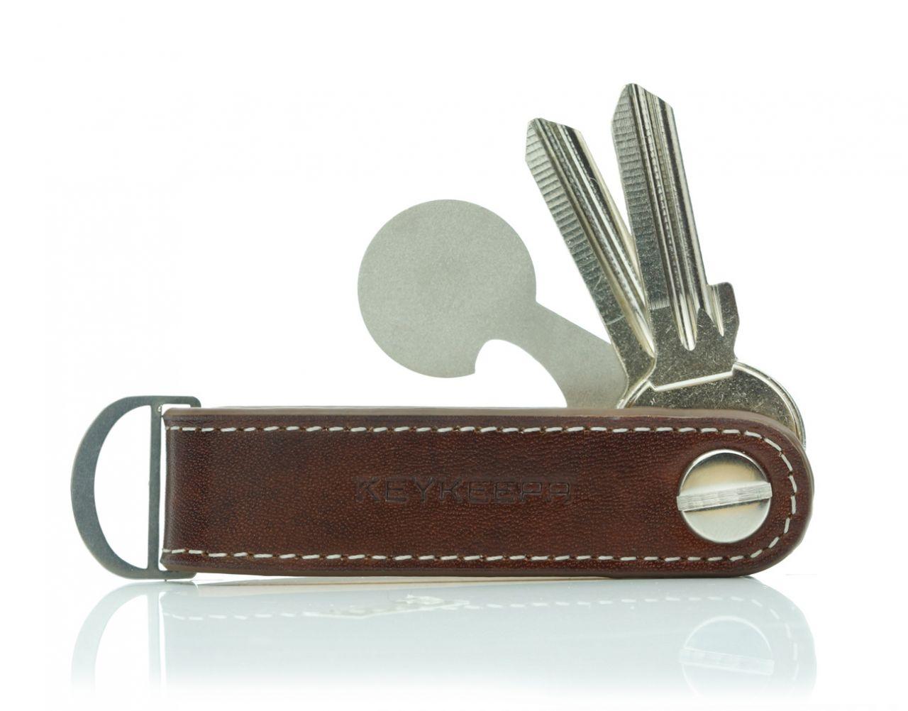 Keykeepa Schlüsselorganizer Leder Loop - Mocca Brown