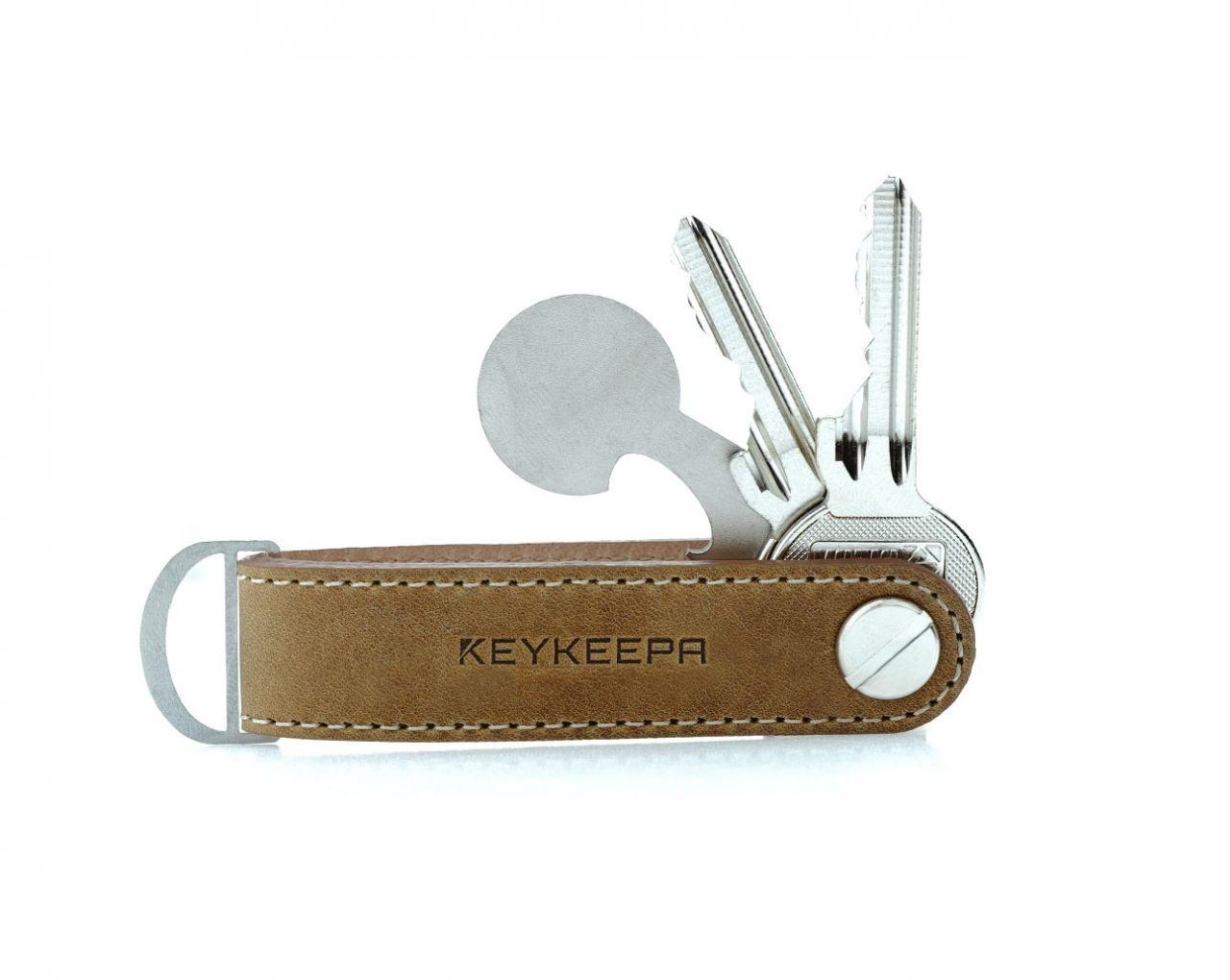 Keykeepa Schlüsselorganizer Leder Loop - Cappuccino Brown